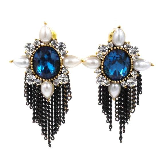 Ocean Fashion Jewelry - Classical blue crystal pearl earrings